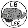 A cute little brain with a bandage on it, surrounded by a circle and the words 'LB Lee.'